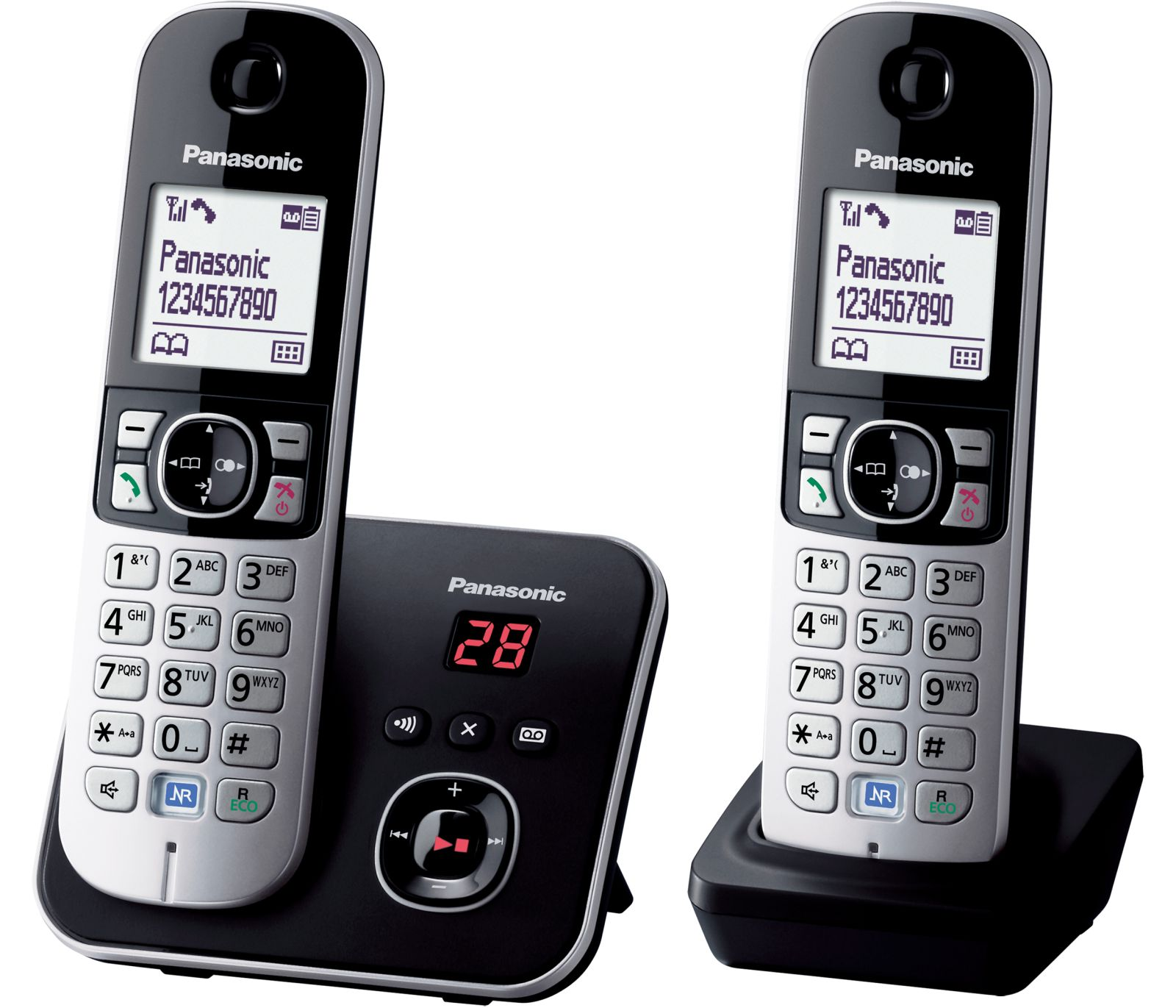 Image of Panasonic KX-TG 6822 Cordless Phone, Twin Handset with Answer Machine