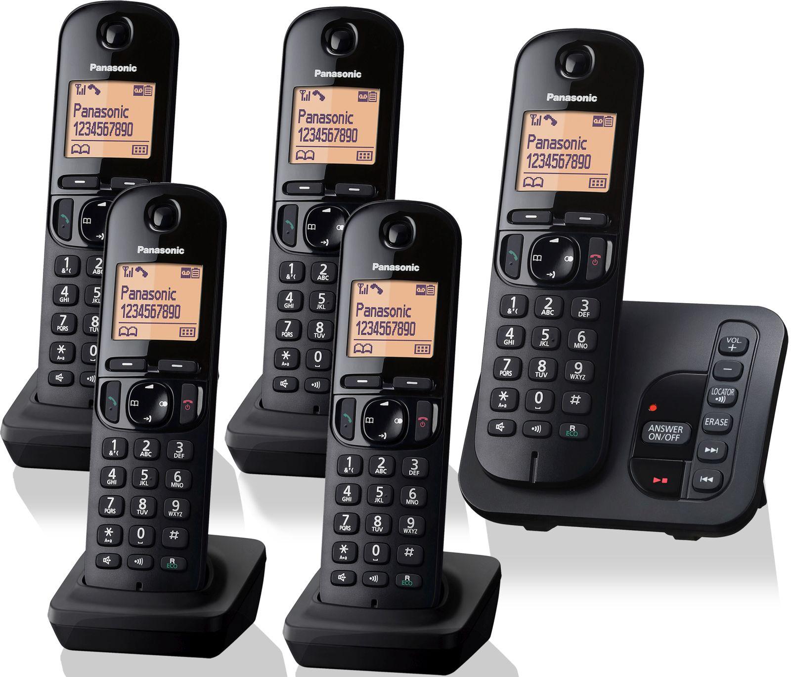 Image of Panasonic KX-TGC 225EB Cordless Phone, Five Handsets with Answer Machine