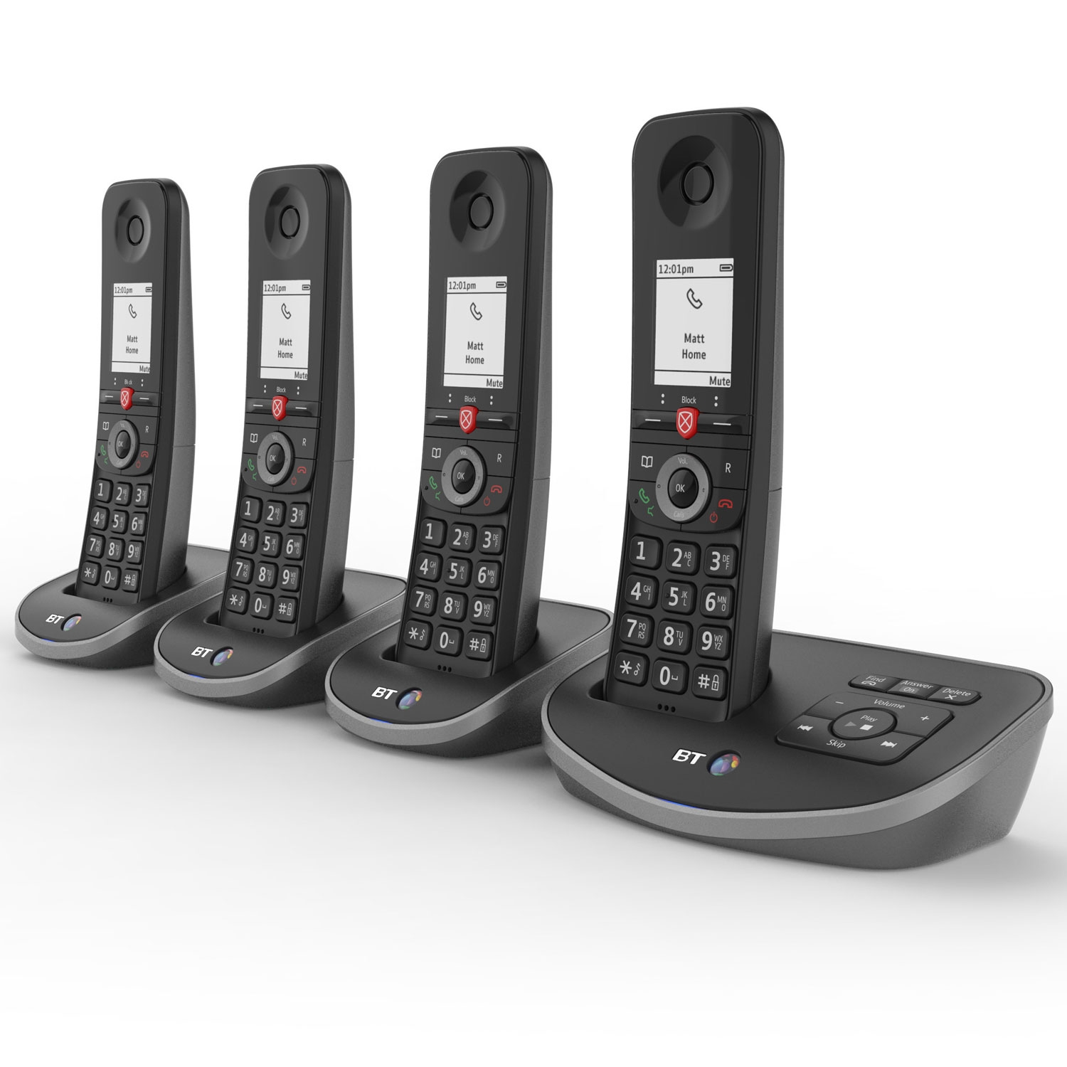 Image of BT Advanced Cordless Phone with Answer Machine, Quad Handset