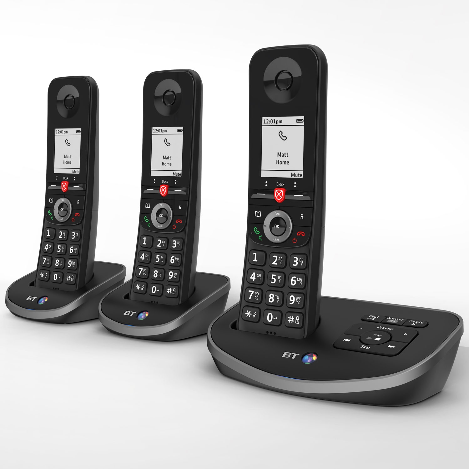 Image of BT Advanced Cordless Phone with Answer Machine, Trio Handset