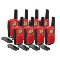 Motorola TALKABOUT T42 Eight Pack Two-Way Radios in Red