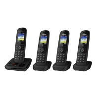 Panasonic KX-TGH724EB Cordless Telephone, Quad Handset with Automated Call Block and Answering Machine