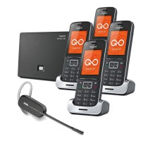 Siemens Gigaset SL450A GO Quad VoIP Cordless Phones with Wireless Headset