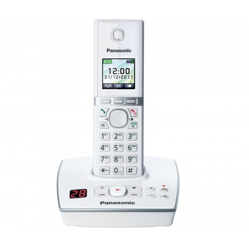 Panasonic KX-TG 8061 EW Cordless Phone - White, Single Handset with Answer Machine - 1