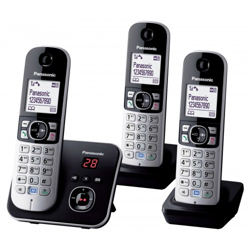 Panasonic KX-TG 6823 Cordless Phone, Trio Handset with Answer Machine - 1