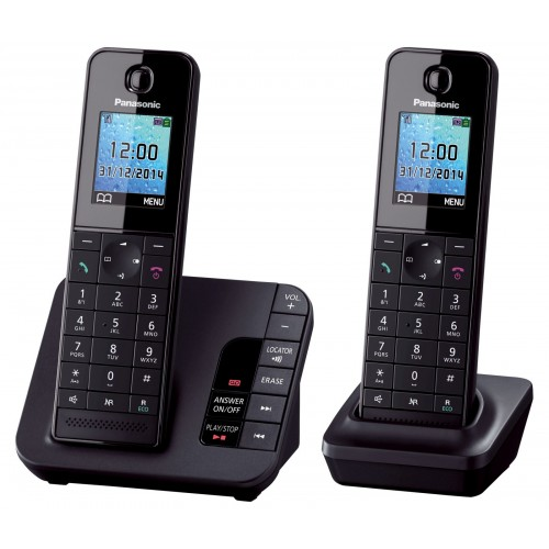 Panasonic KX-TGH222 Cordless Phone, Twin Handset with Answer Machine