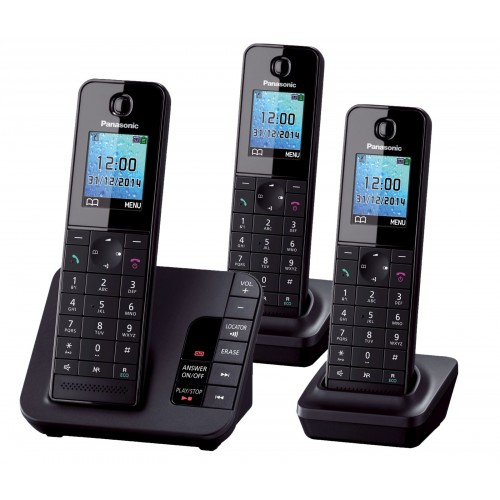 Panasonic KX-TGH223 Cordless Phone, Trio Handset with Answer Machine