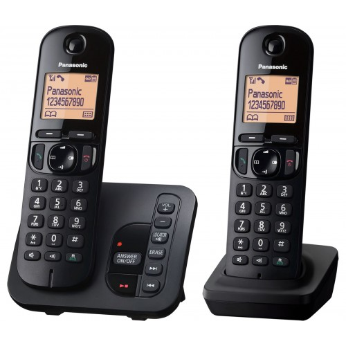 Panasonic KX-TGC 222EB Cordless Phone, Twin Handset with Answer Machine