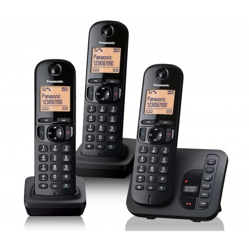 Panasonic KX-TGC 223EB Cordless Phone, Trio Handset with Answer Machine