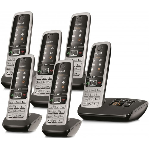 Siemens Gigaset C430A Cordless Phone, Six Handsets with Answer Machine - 1
