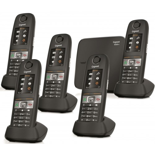 Siemens Gigaset E630A Robust DECT Cordless Phone, Five Handsets