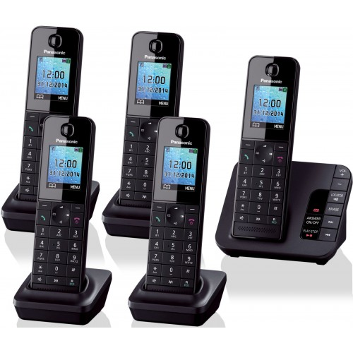 Panasonic KX-TGH225 Cordless Phone, Five Handsets with Answer Machine