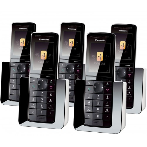 Panasonic KX-PRS120EW Cordless Phone, Five Handset with Answer Machine - 1
