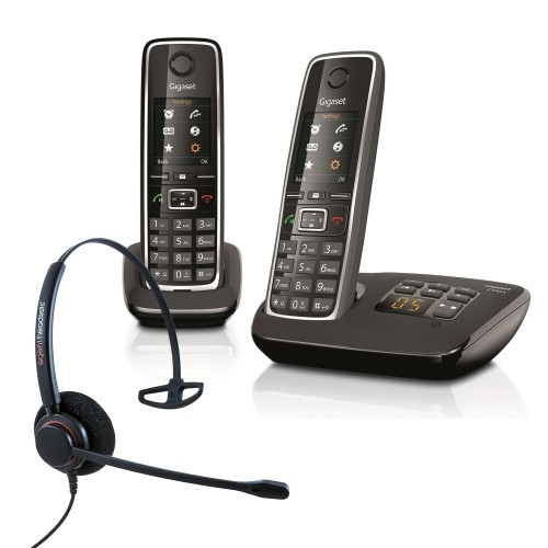 Siemens Gigaset C530A Twin Cordless Phones with Corded Headset