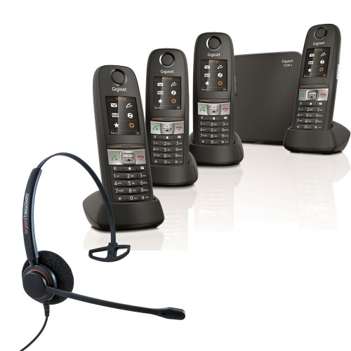 Siemens Gigaset E630A Quad Cordless Phones with Corded Headset