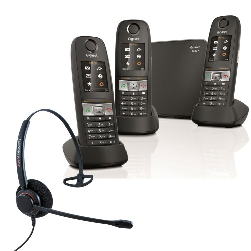 Siemens Gigaset E630A Trio Cordless Phones with Corded Headset