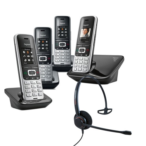 Siemens Gigaset S850A Quad  Cordless Phones with Corded Headset
