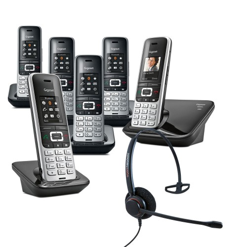 Siemens Gigaset S850A Sextet Cordless Phones with Corded Headset
