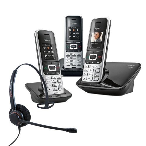 Siemens Gigaset S850A Trio Cordless Phones with Corded Headset