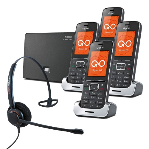 Siemens Gigaset SL450A GO Quad VoIP Cordless Phones with Corded Headset