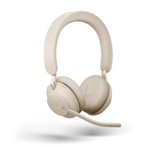 Jabra Evolve2 65 USB-C MS Stereo Wireless Headset in Beige with Jabra Link380