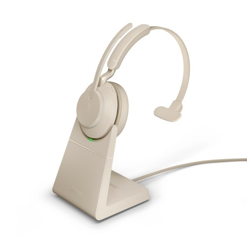 Jabra Evolve2 65 USB-A UC Mono Wireless Headset in Beige with Desk Stand