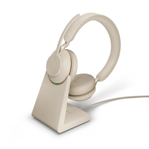 Jabra Evolve2 65 USB-C UC Stereo Wireless Headset in Beige with Desk Stand