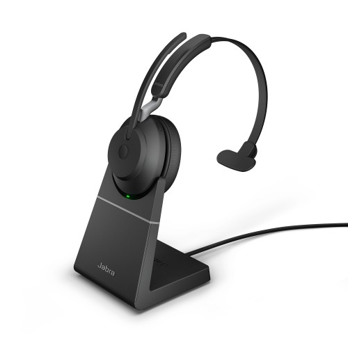 Jabra Evolve2 65 USB-C UC Mono Wireless Headset in Black with Desk Stand