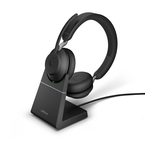 Jabra Evolve2 65 USB-C UC Stereo Wireless Headset in Black with Desk Stand