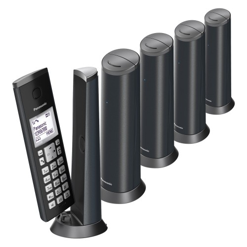 Panasonic KX-TGK225EM Designer Cordless Phone, Five Handset with Answer Machine