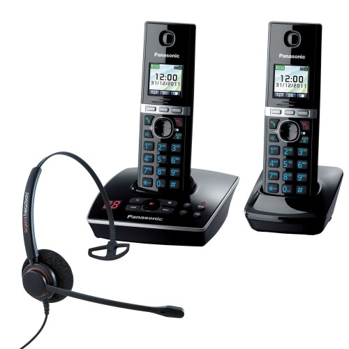 Panasonic KX-TG 8062 Twin Cordless Phones with Corded Headset