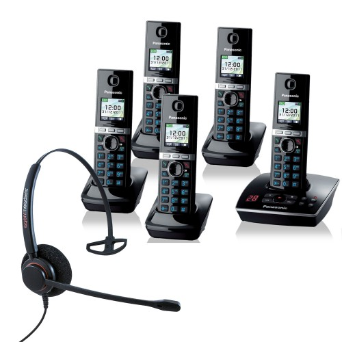 Panasonic KX-TG 8065 Quint Cordless Phones with Corded Headset