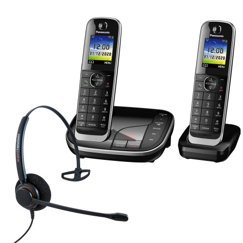Panasonic KX-TGJ322EB Twin Cordless Phones with Corded Headset