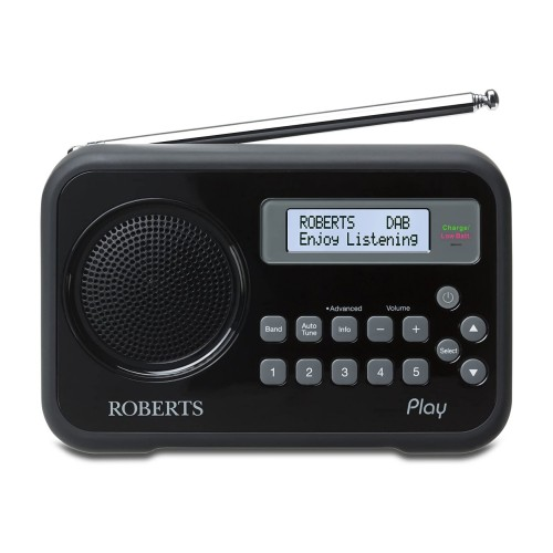 Roberts Play Rechargeable Portable DAB & FM Radio in Black