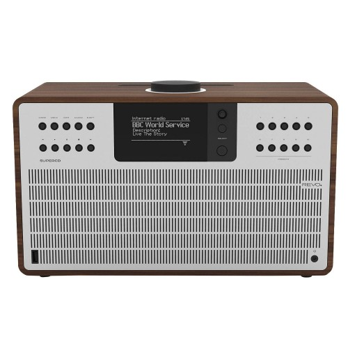 Revo SuperCD DAB, FM & Internet Radio All-In-One Music System with Wi-Fi, Bluetooth & Spotify Connect in Walnut/Silver