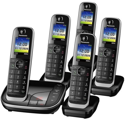 Panasonic KX-TGJ325EB Cordless Phone, Five Handsets with Nuisance Call Blocker
