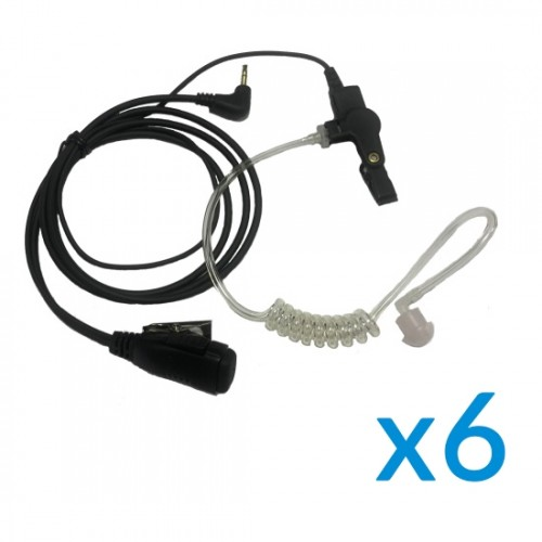 Motorola Earpiece Six Pack with PTT & Mic for TLKR Series