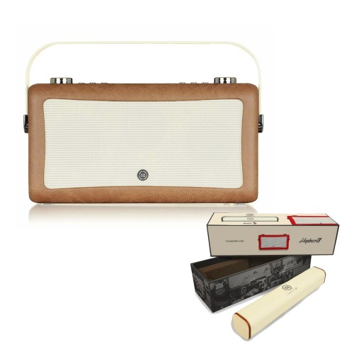 VQ Hepburn Mk II Portable DAB+/FM Radio & Bluetooth Speaker with Rechargeable Battery Pack in Brown