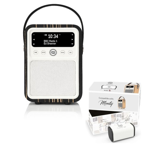 VQ Monty Portable DAB/FM Radio & Bluetooth Speaker with Rechargeable Battery Pack in Black Zebra - 1