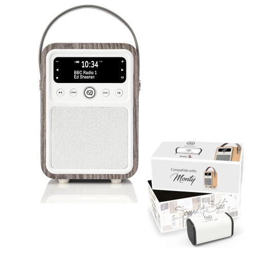 VQ Monty Portable DAB/FM Radio & Bluetooth Speaker with Rechargeable Battery Pack in Limed Oak