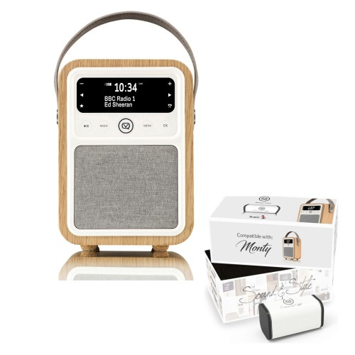 VQ Monty Portable DAB/FM Radio & Bluetooth Speaker with Rechargeable Battery Pack in Oak