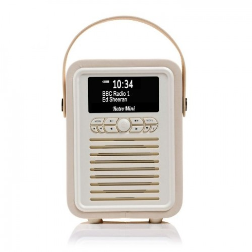 VQ Retro Mini Portable DAB Radio with Bluetooth in Cream