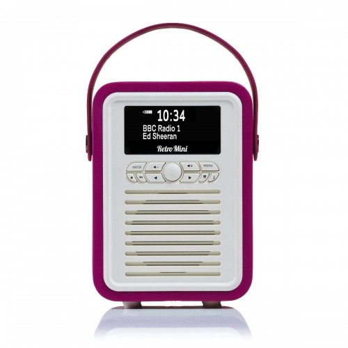 VQ Retro Mini Portable DAB & FM Radio with Bluetooth in Electric Pink