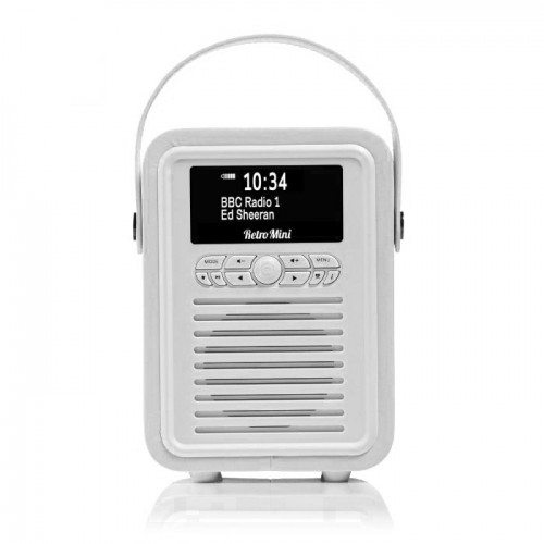 VQ Retro Mini Portable DAB Radio with Bluetooth in White