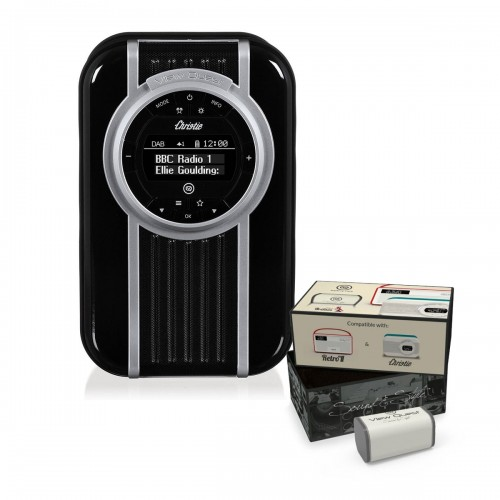 VQ Christie Retro DAB Radio & Bluetooth Speaker in Noir with Rechargeable Battery Pack