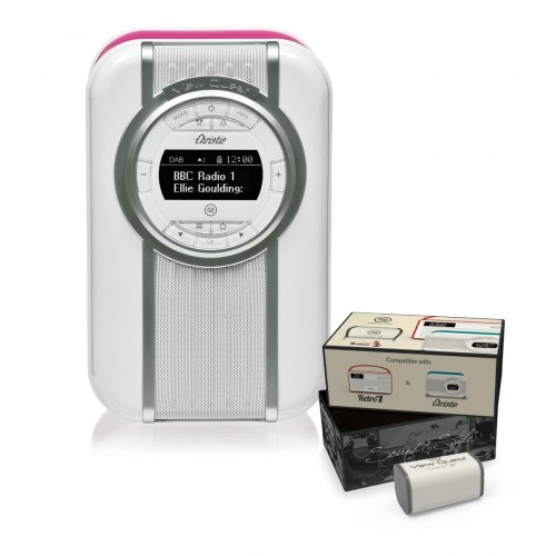 VQ Christie Retro DAB Radio & Bluetooth Speaker in Hot Pink with Rechargeable Battery Pack