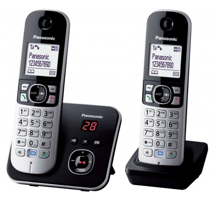 Panasonic KX-TG 6822 Cordless Phone, Twin Handset with Answer Machine