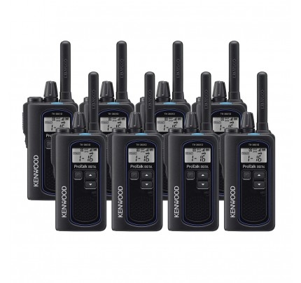 Kenwood TK-3601DE Eight Pack Digital & Analogue License-Free Two-Way Radios