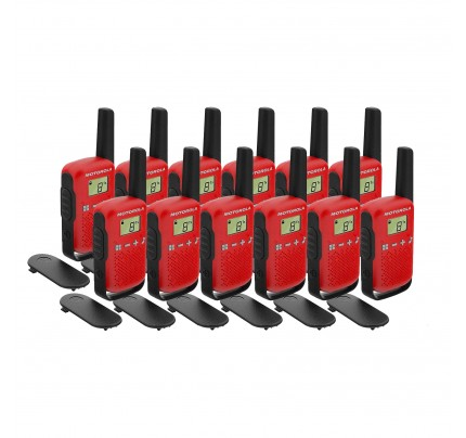Motorola TALKABOUT T42 Twelve Pack Two-Way Radios in Red