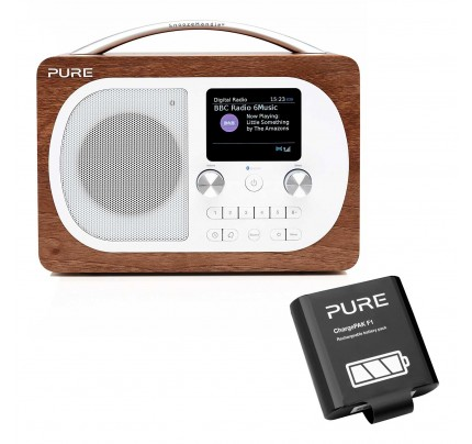 Pure Evoke H4 DAB/Bluetooth Radio in Walnut with Battery Pack